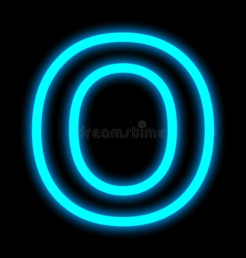 在黑色被概述隔绝的O霓虹灯上写字 向量例证