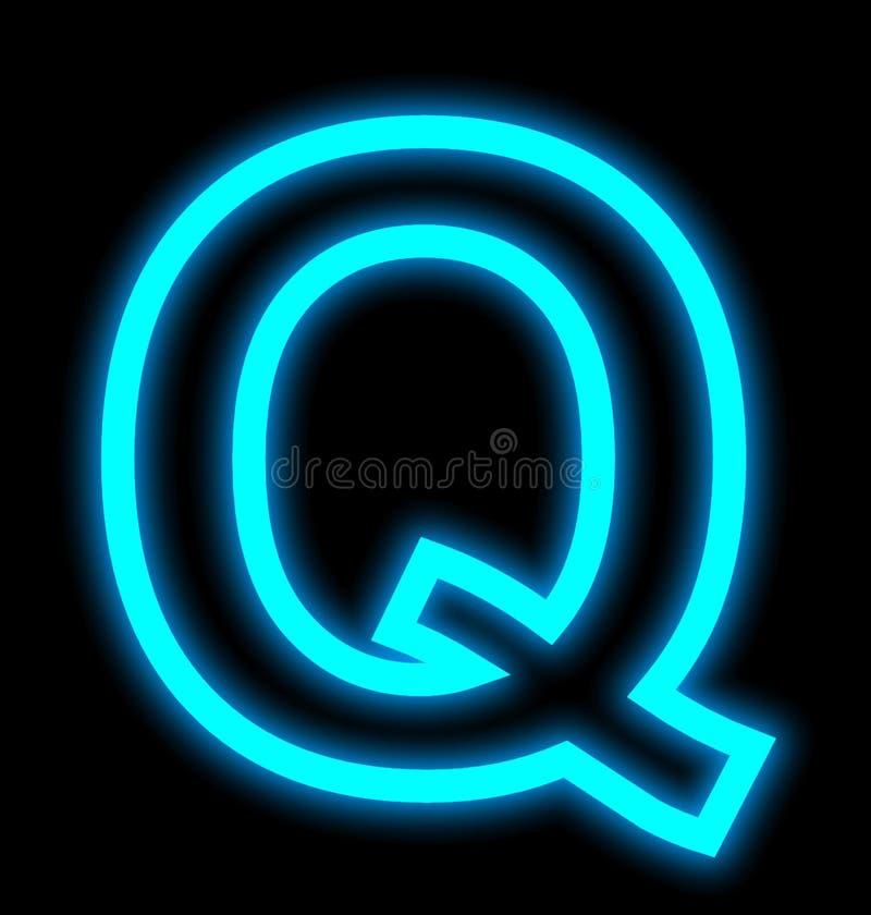 在黑色被概述隔绝的Q霓虹灯上写字 库存例证