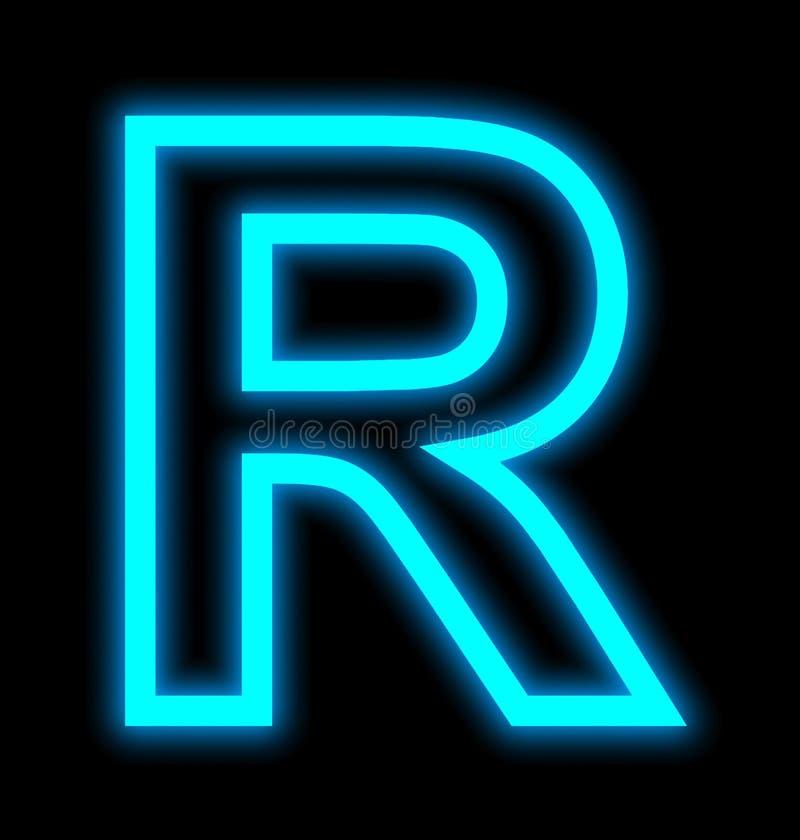 在黑色被概述隔绝的R霓虹灯上写字 向量例证