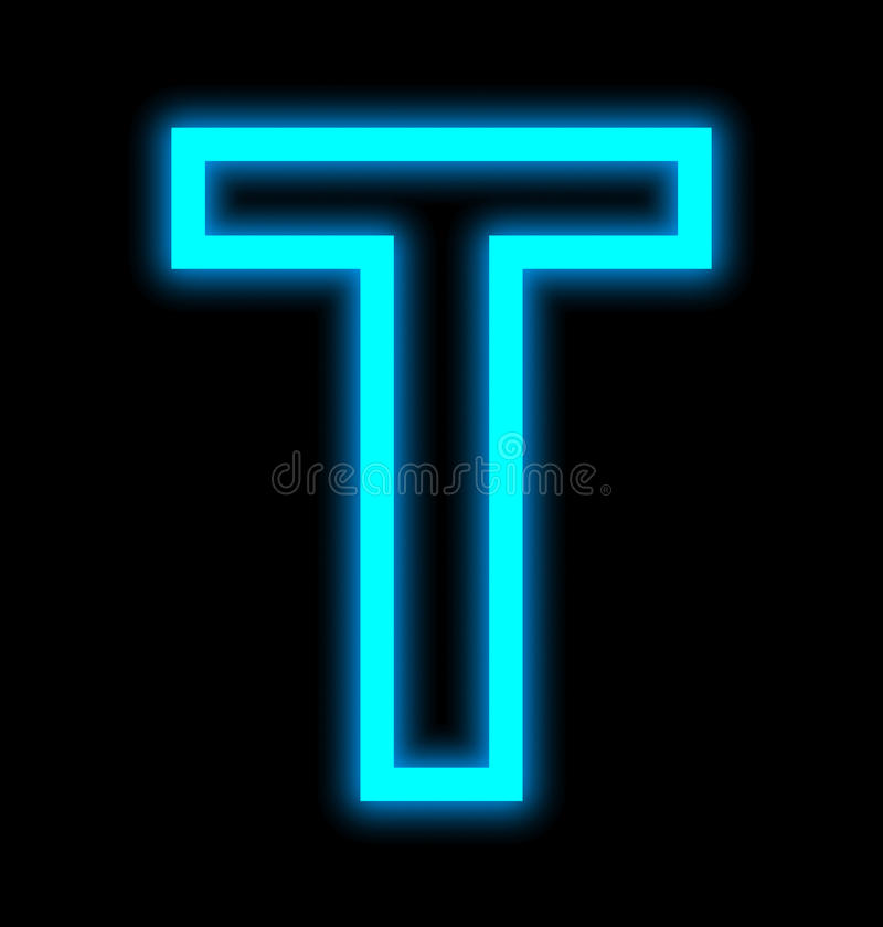 在黑色被概述隔绝的T霓虹灯上写字 向量例证