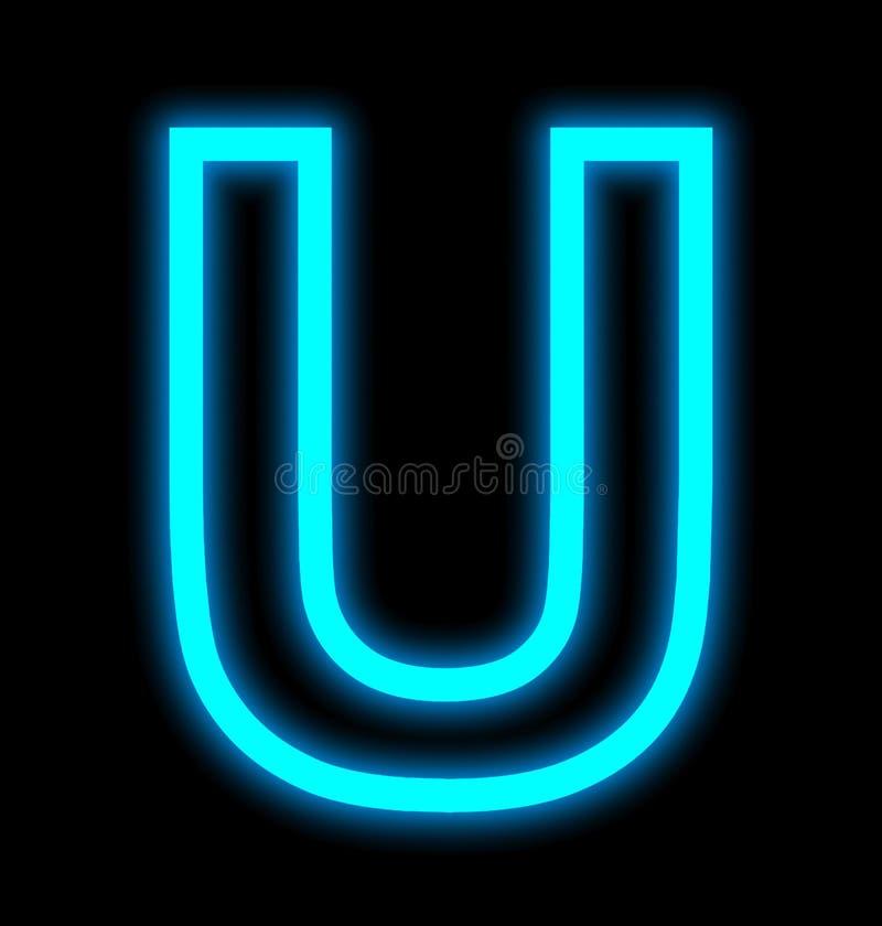 在黑色被概述隔绝的U霓虹灯上写字 库存例证