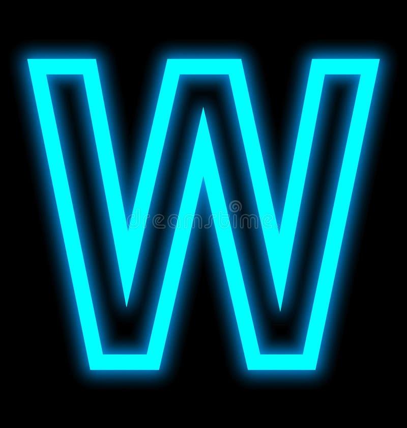 在黑色被概述隔绝的W霓虹灯上写字 皇族释放例证
