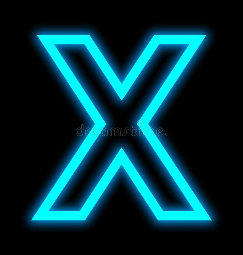 在黑色被概述隔绝的X霓虹灯上写字 向量例证