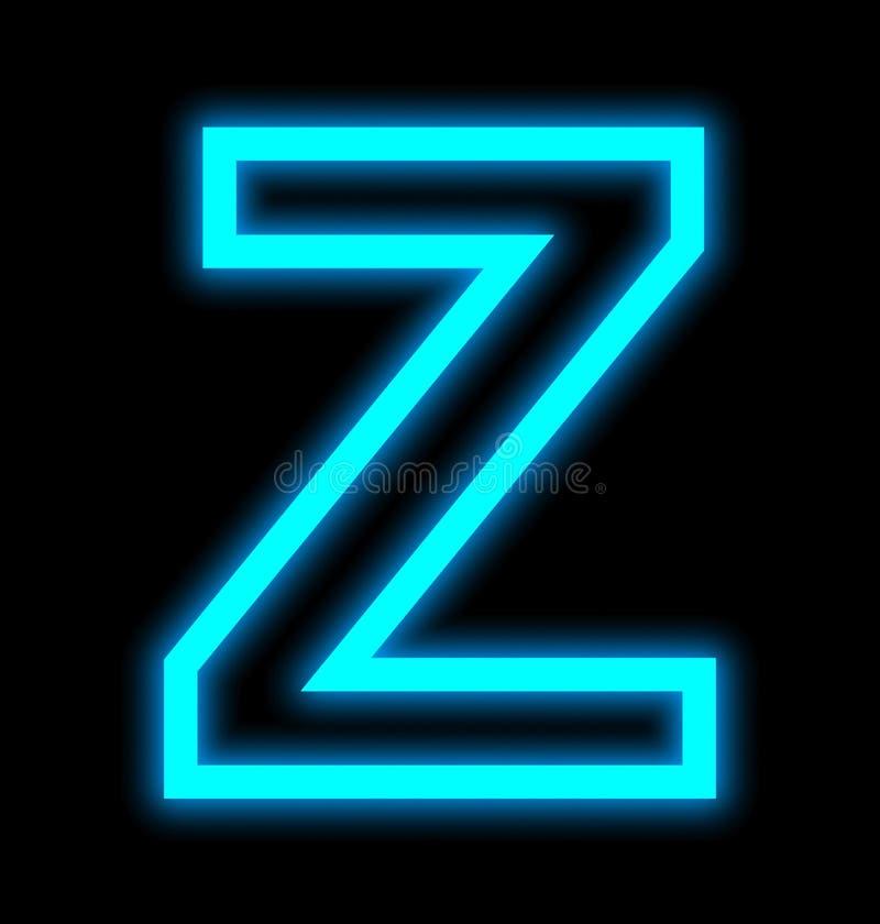 在黑色被概述隔绝的Z霓虹灯上写字 皇族释放例证