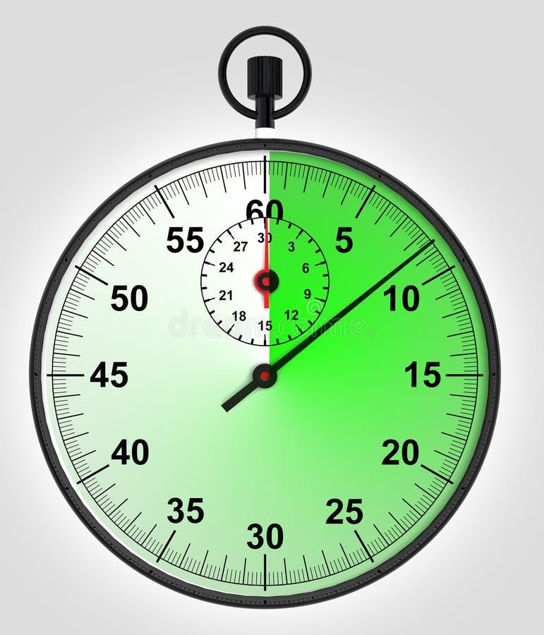 在绿色连续秒表的正面图 皇族释放例证
