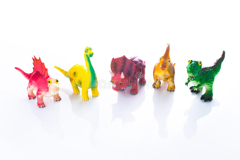 在黑色隔绝的恐龙玩具 图库摄影