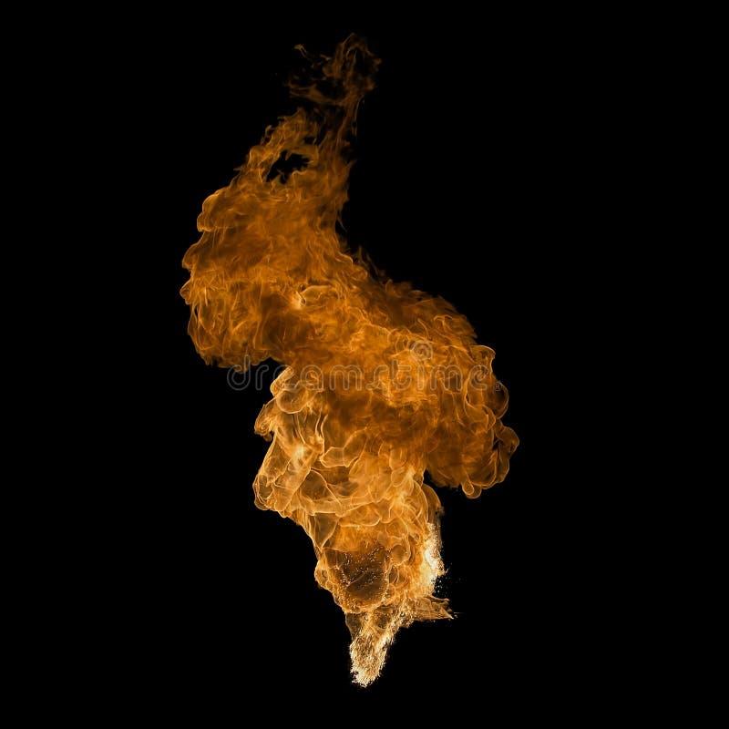 在黑色隔绝的火火焰 免版税库存照片