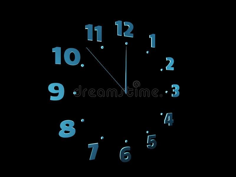 在黑色隔绝的蓝色时钟 免版税库存照片