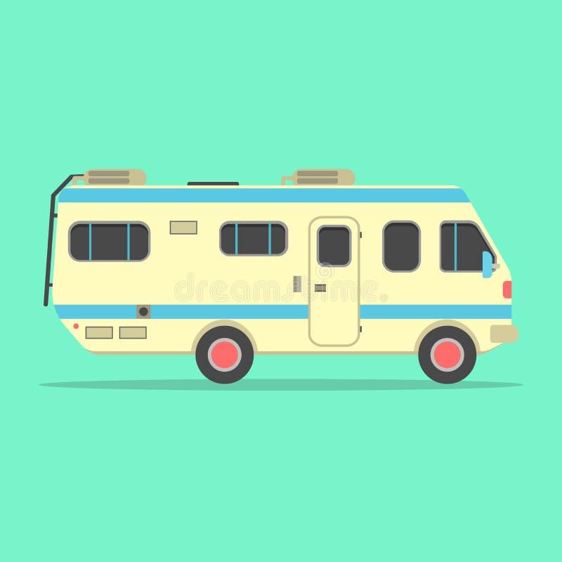在绿色隔绝的黄色旅行露营者货车 库存例证