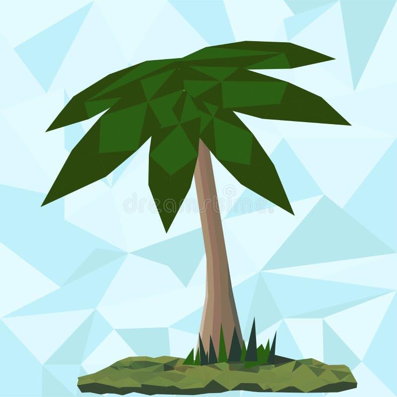 在绿色风景的低多棕榈 向量例证