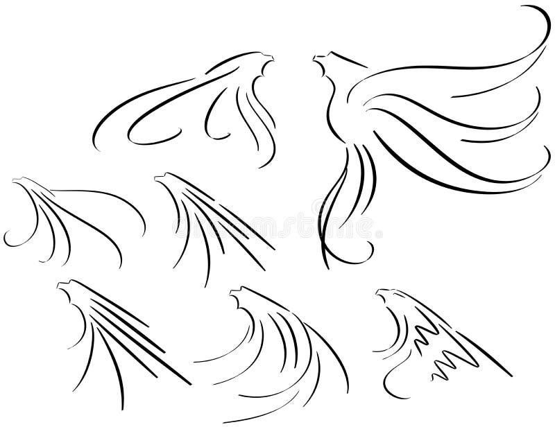 在黑色风格化老鹰隔绝的套 库存例证