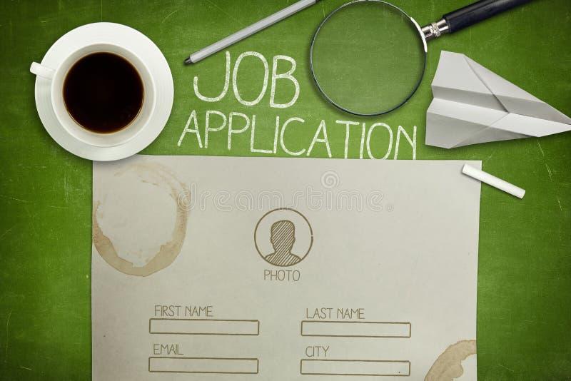 在绿色黑板的工作申请书概念与 图库摄影