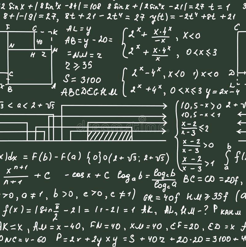 在绿色黑板的无缝的样式有手写文本和数学公式的 向量例证