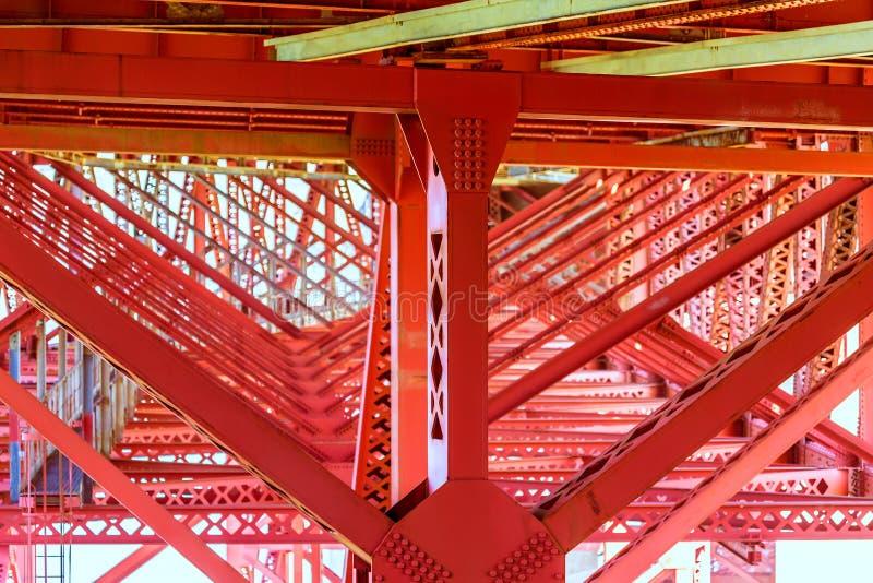 在细节下的金门大桥在旧金山加利福尼亚 库存图片
