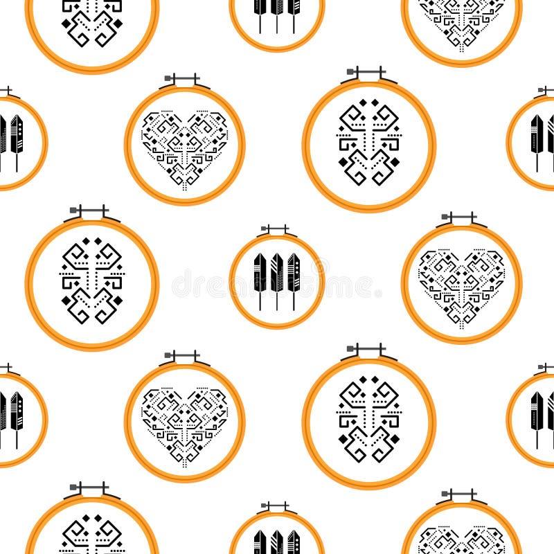 在绣花框架样式的针线设计 皇族释放例证