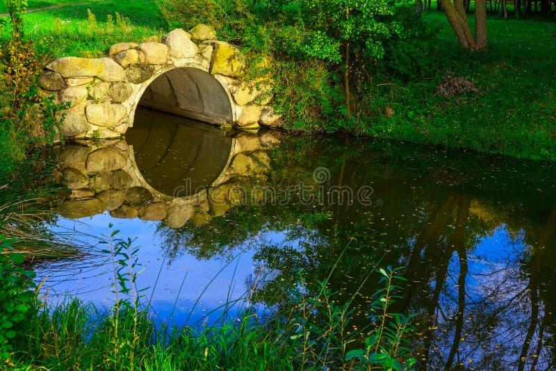 在绿草中的石曲拱在湖 图库摄影