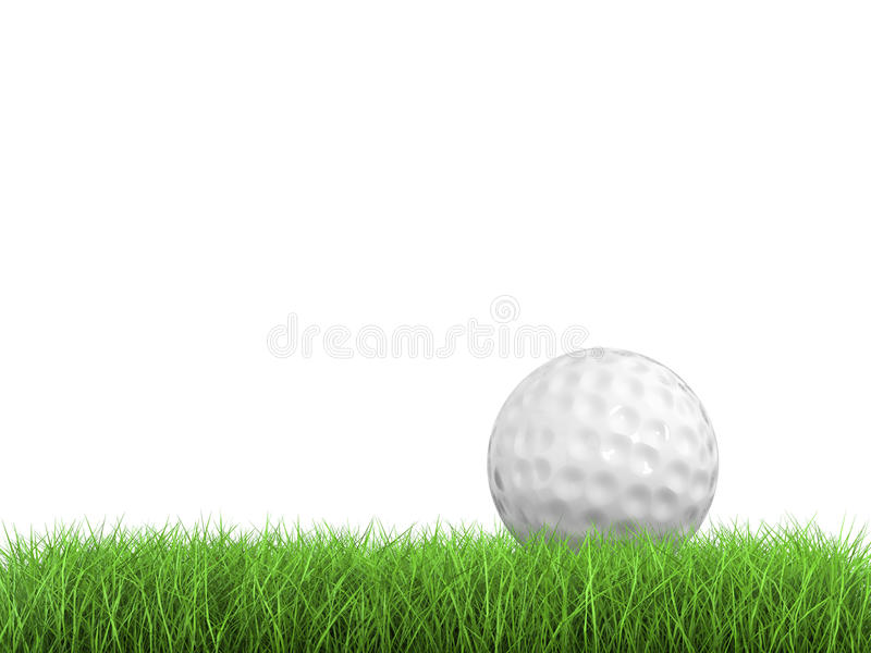 在绿草侧视图的高尔夫球 库存图片