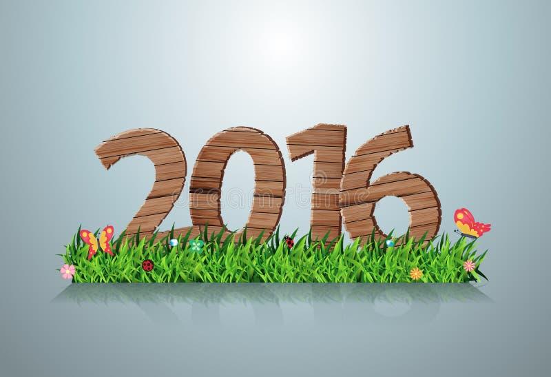 在绿草的传染媒介2016新年好木标志 向量例证