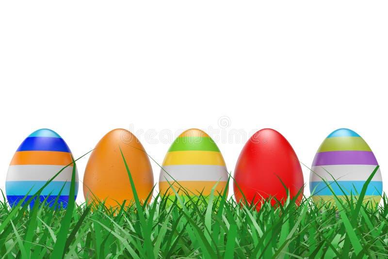 在绿草的复活节彩蛋 库存例证