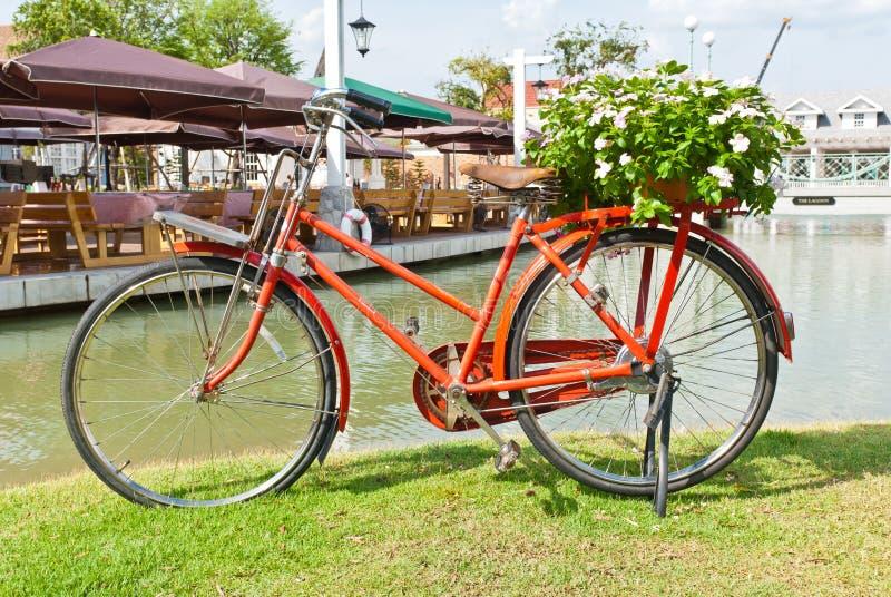 在绿草的红色自行车 免版税库存图片