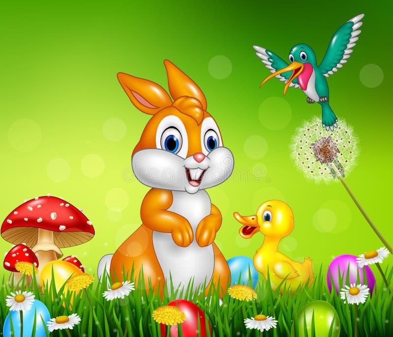 在绿草的逗人喜爱的动物复活节彩蛋 向量例证