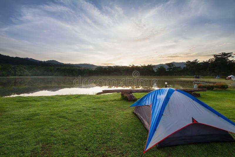 在绿草的野营的帐篷在有有雾的结束森林的湖旁边在日出期间 免版税库存图片