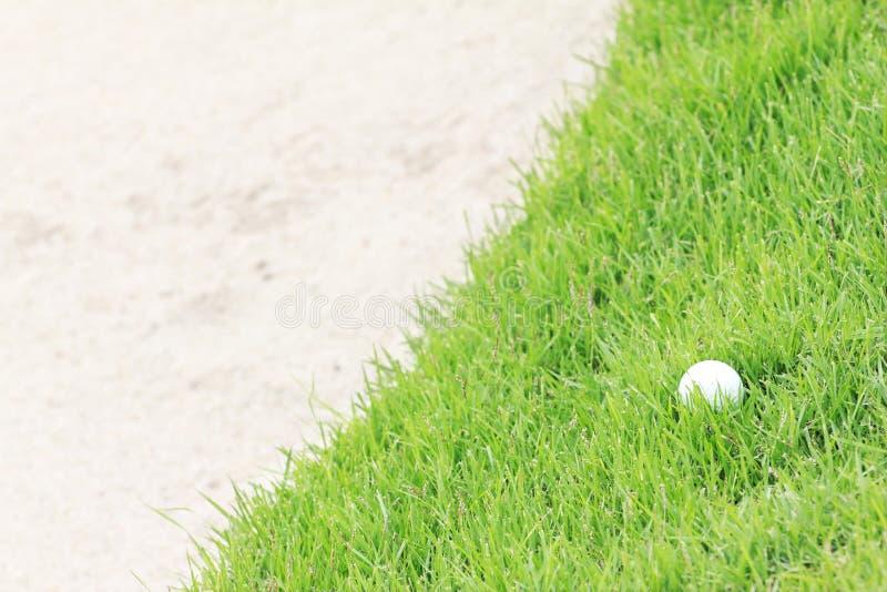 在绿草的高尔夫球在沙子地堡附近 图库摄影