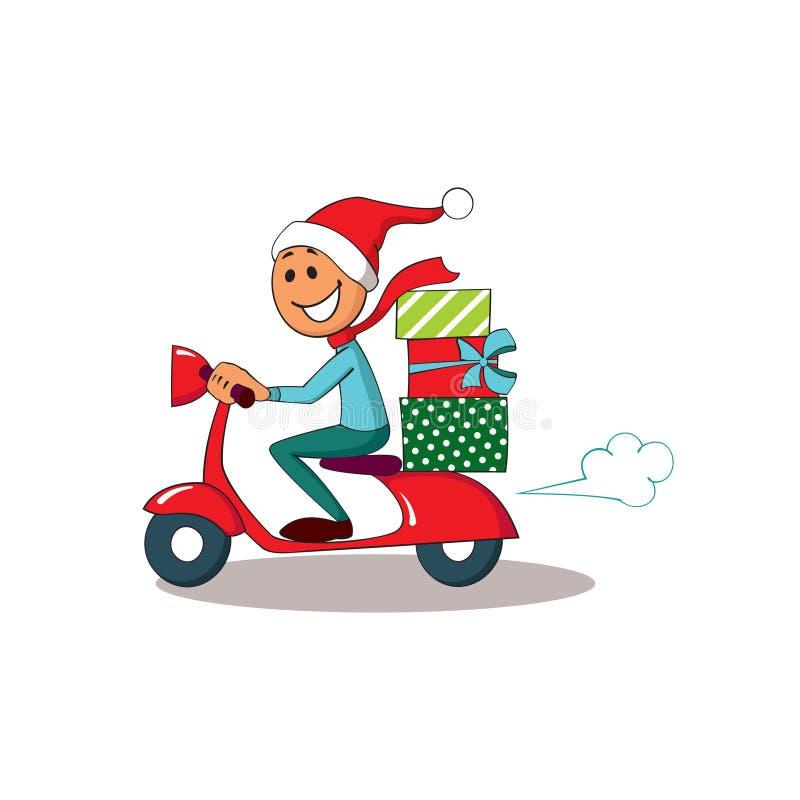 在滑行车的传讯者 圣诞节送货业务 免版税库存照片