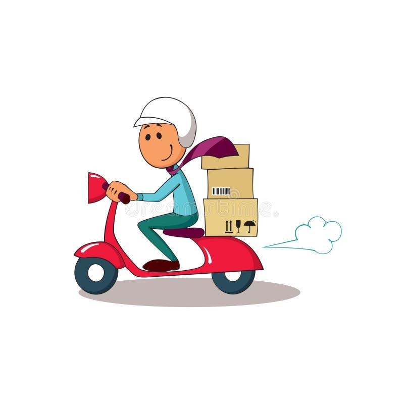 在滑行车的传讯者 背景配件箱发运英俊查出在服务白色工作者 免版税库存照片