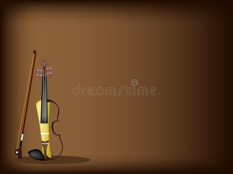 在黑褐色背景的一把美丽的现代小提琴 向量例证