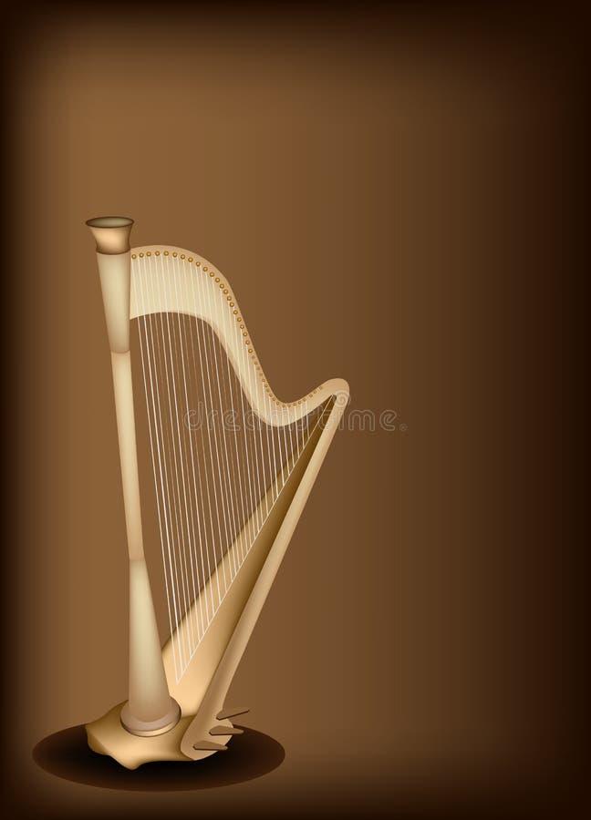 在黑褐色背景的一把美丽的竖琴 向量例证