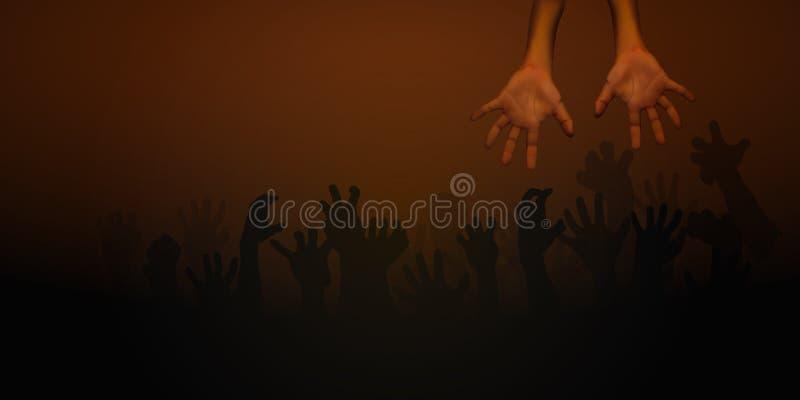 在黑褐色背景的人的手 向量例证