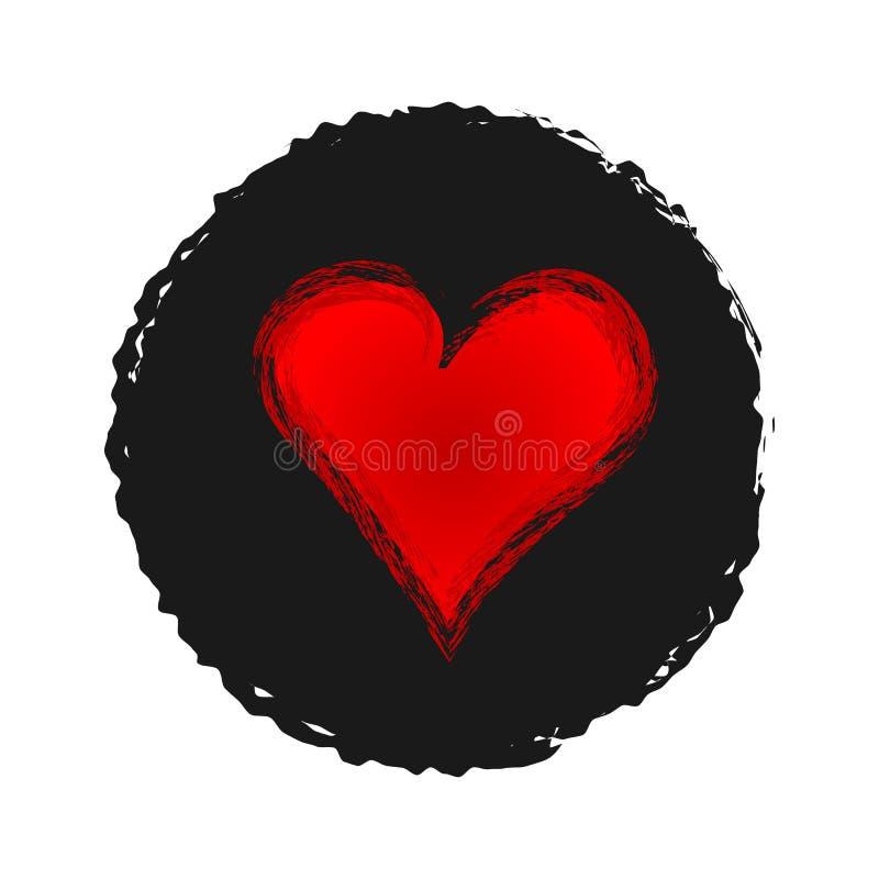 在褴褛黑的背景的红色心脏 剪影,难看的东西 库存例证