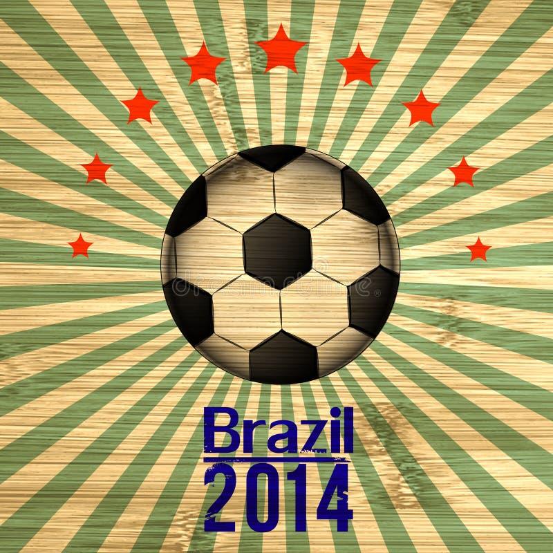 在巴西旗子颜色的减速火箭的例证橄榄球卡片 水色球取火镜足球 库存例证