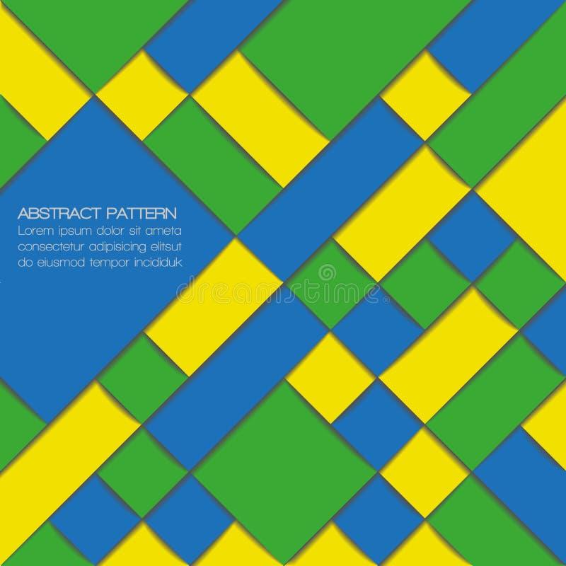 在巴西旗子颜色的抽象几何背景 库存例证