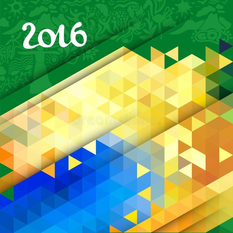 在巴西颜色的传染媒介抽象几何背景 库存例证