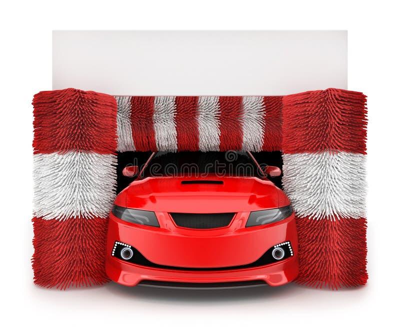 在洗车的汽车 向量例证