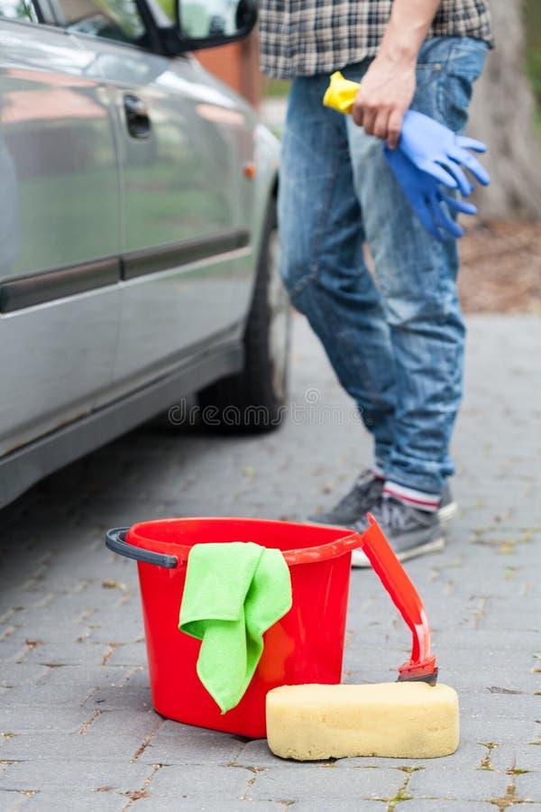 在洗车的清洁汽车 库存图片