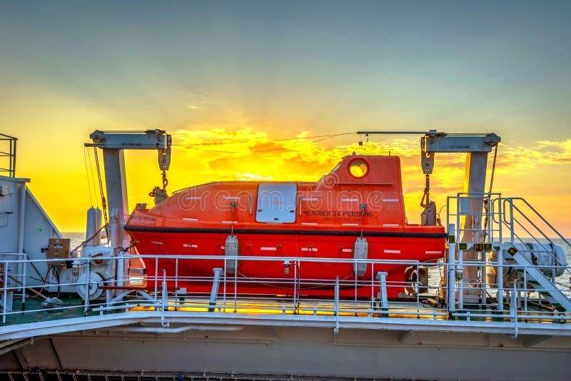 在货轮的救助艇 图库摄影