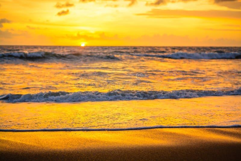 在水边缘的金黄日落 免版税图库摄影