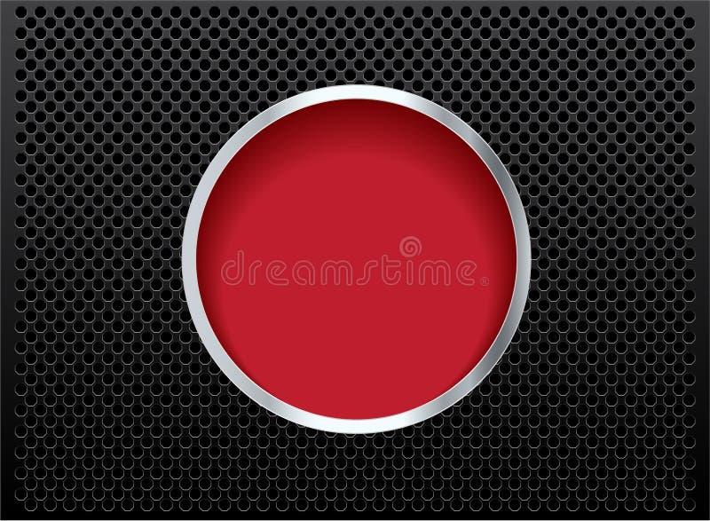 在黑金属背景的按钮红色 库存例证