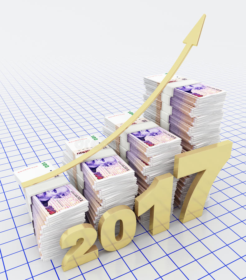 在2017年阿根廷比索的增加价值 库存例证