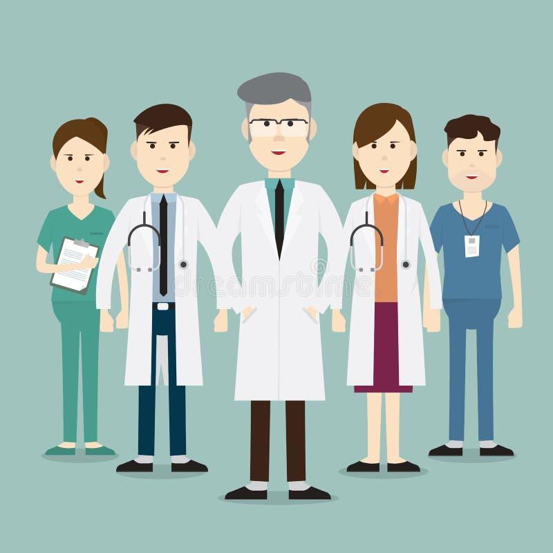 在医院合作医护人员和小组医生 皇族释放例证