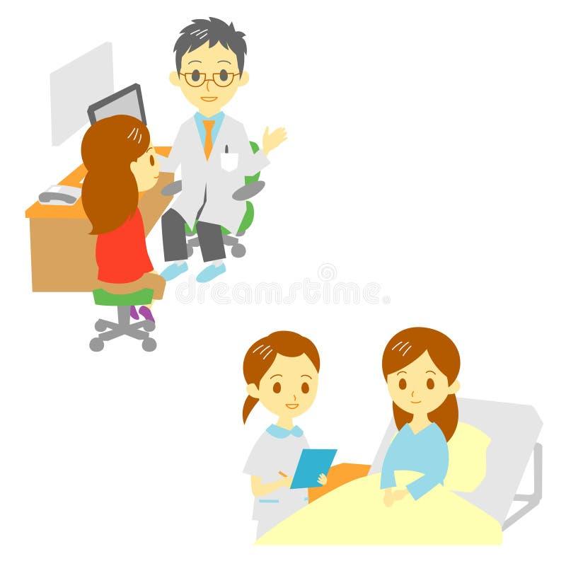 在医院,妇女看见一位医生和 皇族释放例证