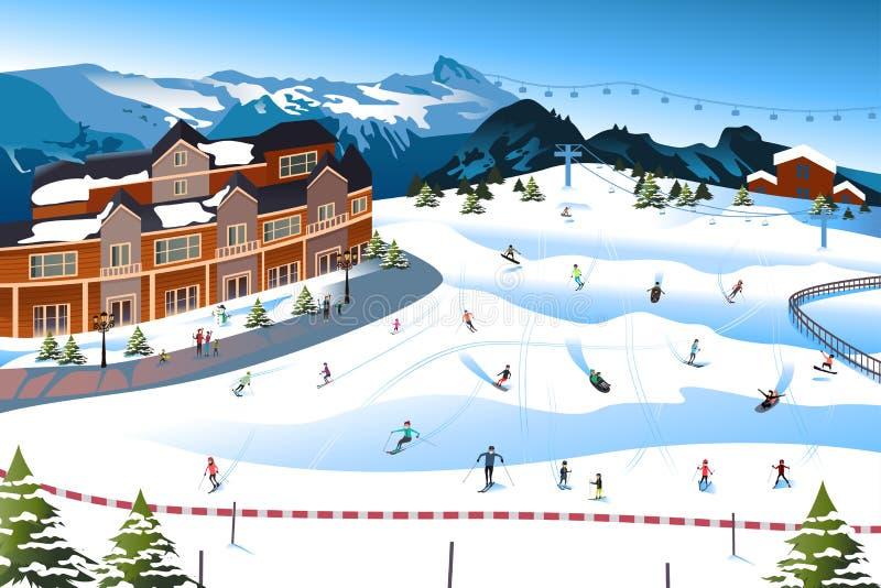 在滑雪胜地的场面 向量例证