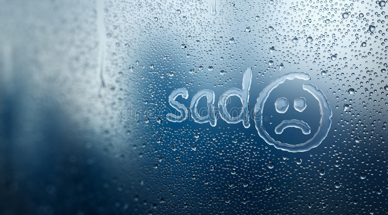 在结露玻璃的哀伤的情感 向量例证