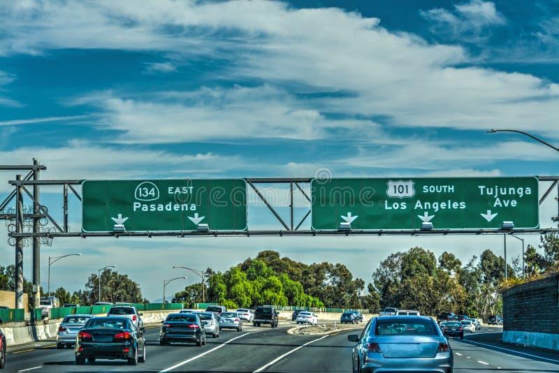 在101高速公路的交通 库存照片