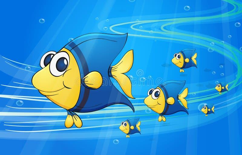 在水鱼下 向量例证