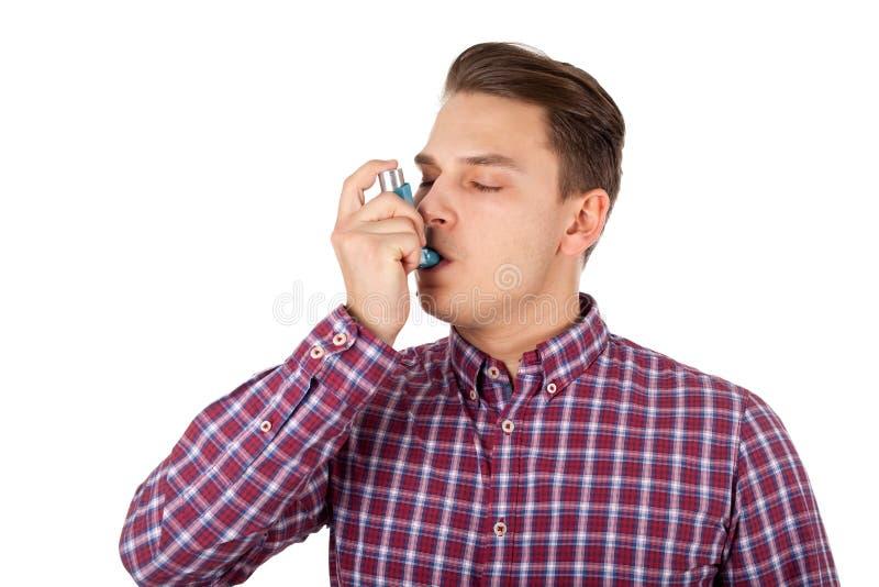 在年轻年龄的哮喘病发作 库存照片