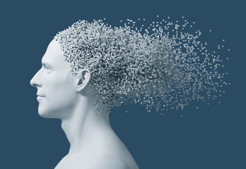 在3D人的头映象点的崩解在蓝色背景的 库存例证